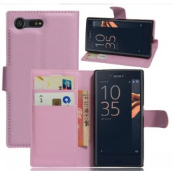 Protection Etui Portefeuille Cuir Rose Sony Xperia X Compact