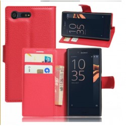 Protection Etui Portefeuille Cuir Rouge Sony Xperia X Compact