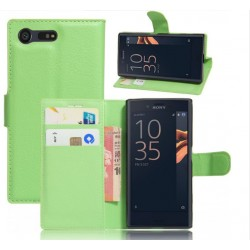 Protection Etui Portefeuille Cuir Vert Sony Xperia X Compact