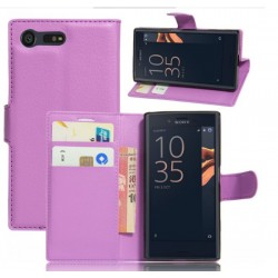 Protection Etui Portefeuille Cuir Violet Sony Xperia X Compact
