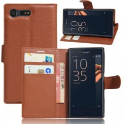 Protection Etui Portefeuille Cuir Marron Sony Xperia X Compact