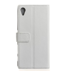 Protection Etui Portefeuille Cuir Blanc Sony Xperia E5