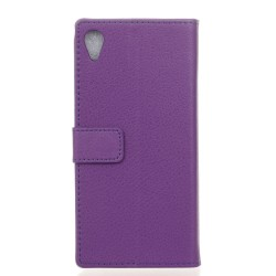 Protection Etui Portefeuille Cuir Violet Sony Xperia E5