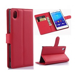 Sony Xperia M4 Aqua Dual Red Wallet Case