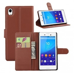 Sony Xperia M4 Aqua Dual Brown Wallet Case
