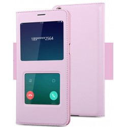 Etui Protection S-View Cover Rose Pour Oppo F1 Plus