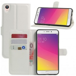 Protection Etui Portefeuille Cuir Blanc Oppo F1 Plus