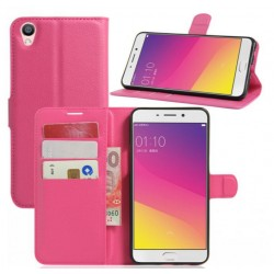Protection Etui Portefeuille Cuir Rose Oppo F1 Plus