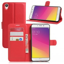 Protection Etui Portefeuille Cuir Rouge Oppo F1 Plus