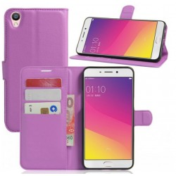 Protection Etui Portefeuille Cuir Violet Oppo F1 Plus