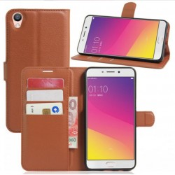 Protection Etui Portefeuille Cuir Marron Oppo F1 Plus