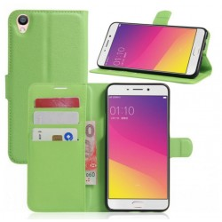 Protection Etui Portefeuille Cuir Vert Oppo F1 Plus