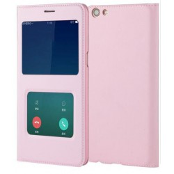 Pink S-view Flip Case For Oppo R9s Plus