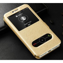 Gold S-view Flip Case For Huawei Y5 (2017)