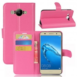 Protection Etui Portefeuille Cuir Rose Huawei Y3 (2017)