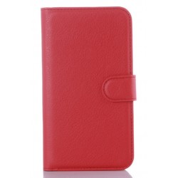 Protection Etui Portefeuille Cuir Rouge LG K10