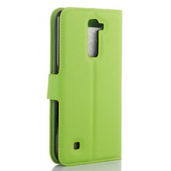Protection Etui Portefeuille Cuir Vert LG K10