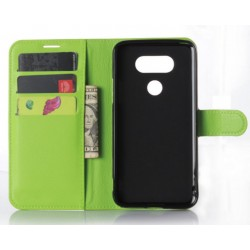 Protection Etui Portefeuille Cuir Vert LG G5