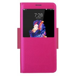 Etui Protection S-View Cover Rose Pour OnePlus 5