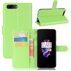 Protection Etui Portefeuille Cuir Vert OnePlus 5