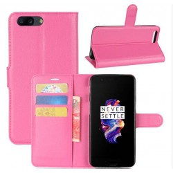 Protection Etui Portefeuille Cuir Rose OnePlus 5