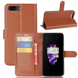 Protection Etui Portefeuille Cuir Marron OnePlus 5