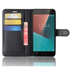 Protection Etui Portefeuille Cuir Noir Vodafone Smart N8