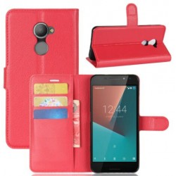 Protection Etui Portefeuille Cuir Rouge Vodafone Smart N8
