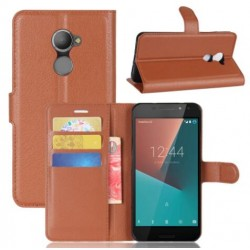 Protection Etui Portefeuille Cuir Marron Vodafone Smart N8