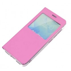 Etui Protection S-View Cover Rose Pour ZTE Blade V8