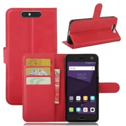 Protection Etui Portefeuille Cuir Rouge ZTE Blade V8
