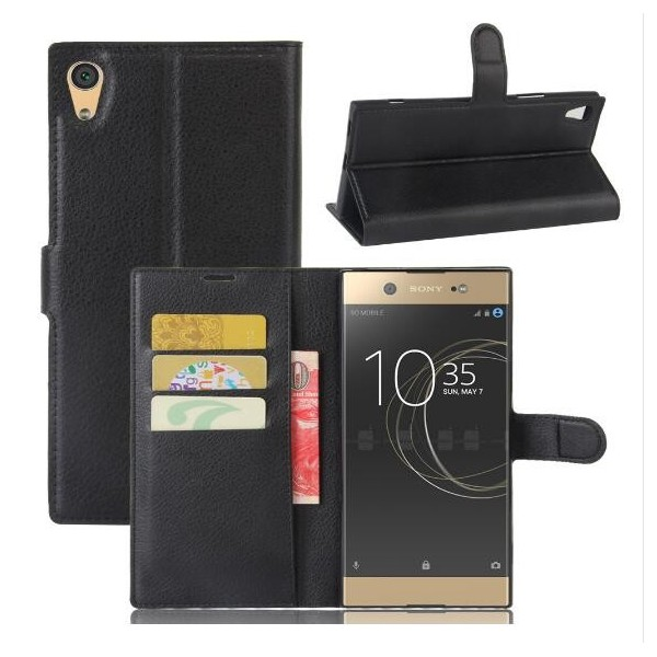 protection etui portefeuille cuir noir sony xperia xa1. Black Bedroom Furniture Sets. Home Design Ideas