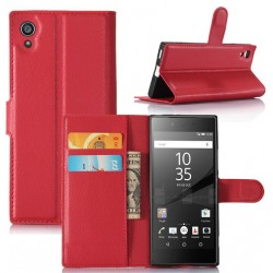Protection Etui Portefeuille Cuir Rouge Sony Xperia XA1