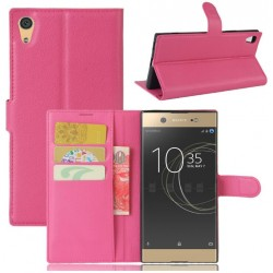 Protection Etui Portefeuille Cuir Rose Sony Xperia XA1
