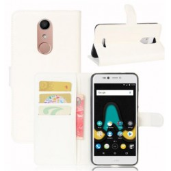 Protection Etui Portefeuille Cuir Blanc Wiko UPulse