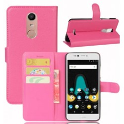 Protection Etui Portefeuille Cuir Rose Wiko UPulse