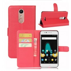 Protection Etui Portefeuille Cuir Rouge Wiko UPulse