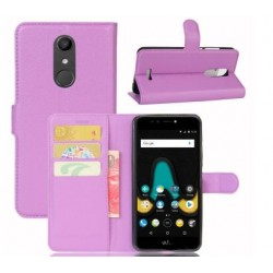 Protection Etui Portefeuille Cuir Violet Wiko UPulse