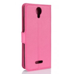 Protection Etui Portefeuille Cuir Rose Wiko Harry