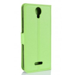 Protection Etui Portefeuille Cuir Vert Wiko Harry