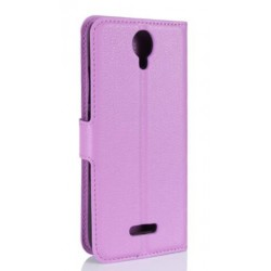 Protection Etui Portefeuille Cuir Violet Wiko Harry
