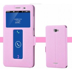 Pink S-view Flip Case For Lenovo S856