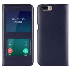 Blue S-view Flip Case For Oppo R11 Plus