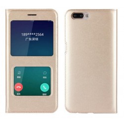 Etui Protection S-View Cover Or Pour Oppo R11 Plus