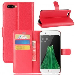 Protection Etui Portefeuille Cuir Rouge Oppo R11 Plus