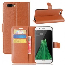 Protection Etui Portefeuille Cuir Marron Oppo R11 Plus
