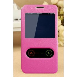 Pink S-view Flip Case For Motorola Moto E4