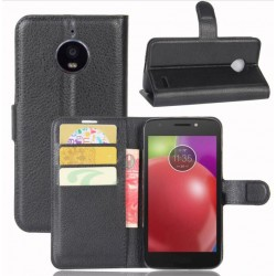 Motorola Moto E4 Black Wallet Case