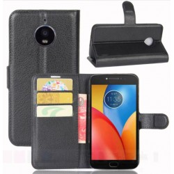 Motorola Moto E4 Plus Black Wallet Case
