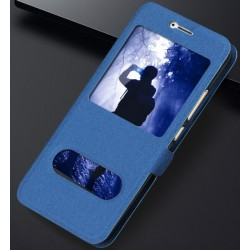 Etui Protection S-View Cover Bleu Pour Huawei Honor 6A